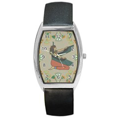 Egyptian Woman Wings Design Barrel Style Metal Watch by Celenk