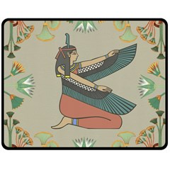 Egyptian Woman Wings Design Fleece Blanket (medium)  by Celenk