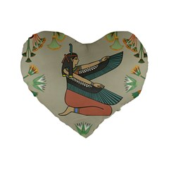 Egyptian Woman Wings Design Standard 16  Premium Flano Heart Shape Cushions by Celenk