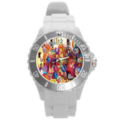 Guatemala Art Painting Naive Round Plastic Sport Watch (l) by Celenk