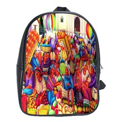 Guatemala Art Painting Naive School Bag (xl)