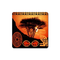 Africa Safari Summer Sun Nature Square Magnet by Celenk