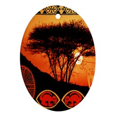 Africa Safari Summer Sun Nature Oval Ornament (two Sides) by Celenk