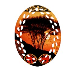 Africa Safari Summer Sun Nature Oval Filigree Ornament (two Sides) by Celenk