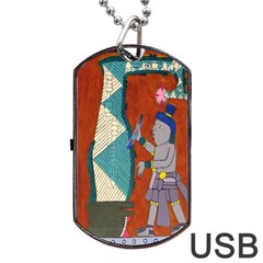 Mexico Puebla Mural Ethnic Aztec Dog Tag Usb Flash (two Sides) by Celenk
