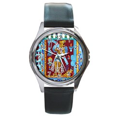 Mexico Puebla Mural Ethnic Aztec Round Metal Watch by Celenk