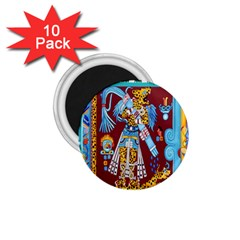 Mexico Puebla Mural Ethnic Aztec 1 75  Magnets (10 Pack)  by Celenk