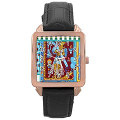 Mexico Puebla Mural Ethnic Aztec Rose Gold Leather Watch  by Celenk