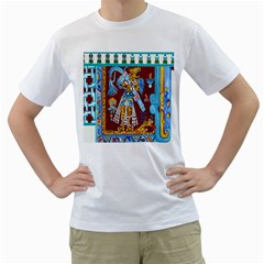 Mexico Puebla Mural Ethnic Aztec Men s T Shirt (white)  by Celenk