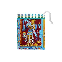 Mexico Puebla Mural Ethnic Aztec Drawstring Pouches (small)  by Celenk