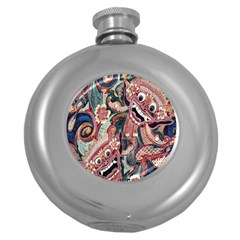 Indonesia Bali Batik Fabric Round Hip Flask (5 Oz) by Celenk