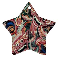 Indonesia Bali Batik Fabric Star Ornament (two Sides) by Celenk