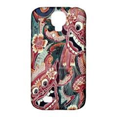 Indonesia Bali Batik Fabric Samsung Galaxy S4 Classic Hardshell Case (pc+silicone) by Celenk