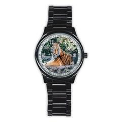 Animal Big Cat Safari Tiger Stainless Steel Round Watch by Celenk