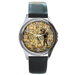 Mystery Pattern Pyramid Peru Aztec Font Art Drawing Illustration Design Text Mexico History Indian Round Metal Watch