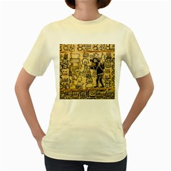 Mystery Pattern Pyramid Peru Aztec Font Art Drawing Illustration Design Text Mexico History Indian Women s Yellow T-Shirt