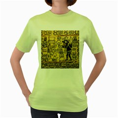 Mystery Pattern Pyramid Peru Aztec Font Art Drawing Illustration Design Text Mexico History Indian Women s Green T-Shirt