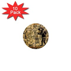 Mystery Pattern Pyramid Peru Aztec Font Art Drawing Illustration Design Text Mexico History Indian 1  Mini Buttons (10 pack)