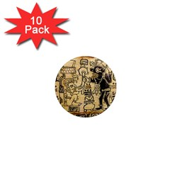 Mystery Pattern Pyramid Peru Aztec Font Art Drawing Illustration Design Text Mexico History Indian 1  Mini Magnet (10 pack)