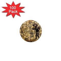 Mystery Pattern Pyramid Peru Aztec Font Art Drawing Illustration Design Text Mexico History Indian 1  Mini Magnets (100 pack)