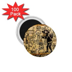 Mystery Pattern Pyramid Peru Aztec Font Art Drawing Illustration Design Text Mexico History Indian 1.75  Magnets (100 pack)