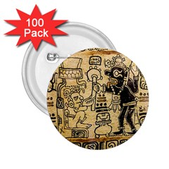 Mystery Pattern Pyramid Peru Aztec Font Art Drawing Illustration Design Text Mexico History Indian 2.25  Buttons (100 pack)
