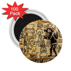 Mystery Pattern Pyramid Peru Aztec Font Art Drawing Illustration Design Text Mexico History Indian 2.25  Magnets (100 pack)