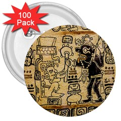 Mystery Pattern Pyramid Peru Aztec Font Art Drawing Illustration Design Text Mexico History Indian 3  Buttons (100 pack)