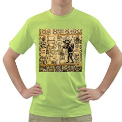 Mystery Pattern Pyramid Peru Aztec Font Art Drawing Illustration Design Text Mexico History Indian Green T-Shirt