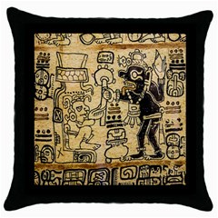 Mystery Pattern Pyramid Peru Aztec Font Art Drawing Illustration Design Text Mexico History Indian Throw Pillow Case (Black)