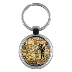 Mystery Pattern Pyramid Peru Aztec Font Art Drawing Illustration Design Text Mexico History Indian Key Chains (Round)