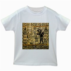 Mystery Pattern Pyramid Peru Aztec Font Art Drawing Illustration Design Text Mexico History Indian Kids White T-Shirts