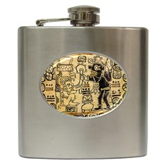 Mystery Pattern Pyramid Peru Aztec Font Art Drawing Illustration Design Text Mexico History Indian Hip Flask (6 oz)
