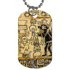 Mystery Pattern Pyramid Peru Aztec Font Art Drawing Illustration Design Text Mexico History Indian Dog Tag (two Sides) by Celenk