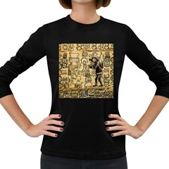 Mystery Pattern Pyramid Peru Aztec Font Art Drawing Illustration Design Text Mexico History Indian Women s Long Sleeve Dark T-Shirts