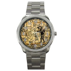 Mystery Pattern Pyramid Peru Aztec Font Art Drawing Illustration Design Text Mexico History Indian Sport Metal Watch