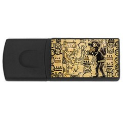 Mystery Pattern Pyramid Peru Aztec Font Art Drawing Illustration Design Text Mexico History Indian Rectangular USB Flash Drive