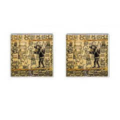 Mystery Pattern Pyramid Peru Aztec Font Art Drawing Illustration Design Text Mexico History Indian Cufflinks (Square)