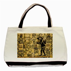 Mystery Pattern Pyramid Peru Aztec Font Art Drawing Illustration Design Text Mexico History Indian Basic Tote Bag
