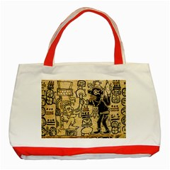 Mystery Pattern Pyramid Peru Aztec Font Art Drawing Illustration Design Text Mexico History Indian Classic Tote Bag (Red)