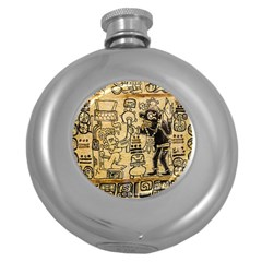 Mystery Pattern Pyramid Peru Aztec Font Art Drawing Illustration Design Text Mexico History Indian Round Hip Flask (5 oz)