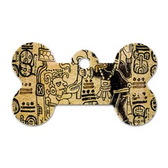 Mystery Pattern Pyramid Peru Aztec Font Art Drawing Illustration Design Text Mexico History Indian Dog Tag Bone (One Side)