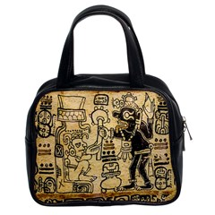 Mystery Pattern Pyramid Peru Aztec Font Art Drawing Illustration Design Text Mexico History Indian Classic Handbags (2 Sides)