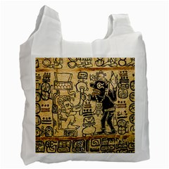 Mystery Pattern Pyramid Peru Aztec Font Art Drawing Illustration Design Text Mexico History Indian Recycle Bag (Two Side)
