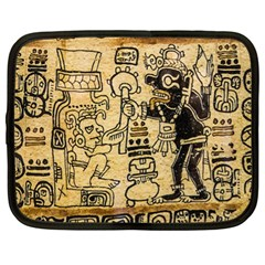 Mystery Pattern Pyramid Peru Aztec Font Art Drawing Illustration Design Text Mexico History Indian Netbook Case (XL)