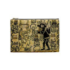 Mystery Pattern Pyramid Peru Aztec Font Art Drawing Illustration Design Text Mexico History Indian Cosmetic Bag (Medium)