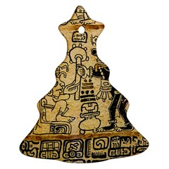 Mystery Pattern Pyramid Peru Aztec Font Art Drawing Illustration Design Text Mexico History Indian Christmas Tree Ornament (Two Sides)