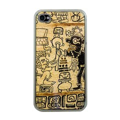 Mystery Pattern Pyramid Peru Aztec Font Art Drawing Illustration Design Text Mexico History Indian Apple Iphone 4 Case (clear) by Celenk