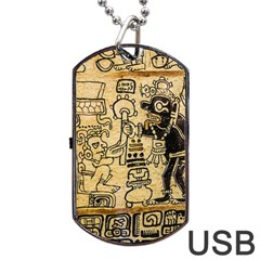Mystery Pattern Pyramid Peru Aztec Font Art Drawing Illustration Design Text Mexico History Indian Dog Tag USB Flash (One Side)