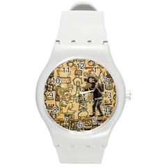 Mystery Pattern Pyramid Peru Aztec Font Art Drawing Illustration Design Text Mexico History Indian Round Plastic Sport Watch (M)